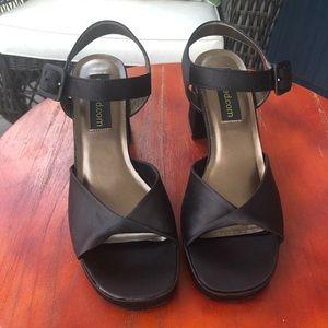 Unlisted Black Fabric Square-Toe, Block-Heels 7.5